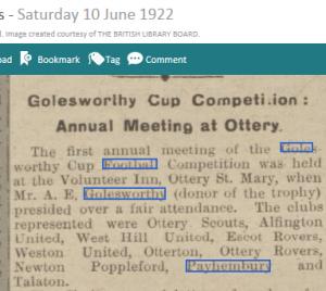 1922 WT 1st ever Golesworthy AGM